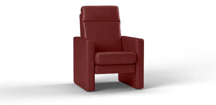 Fauteuil in parelmoer donkerrood leer
